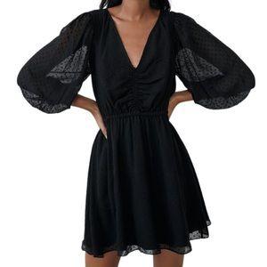 Zara Black Swiss Dot Dress With Balloon Sleeve